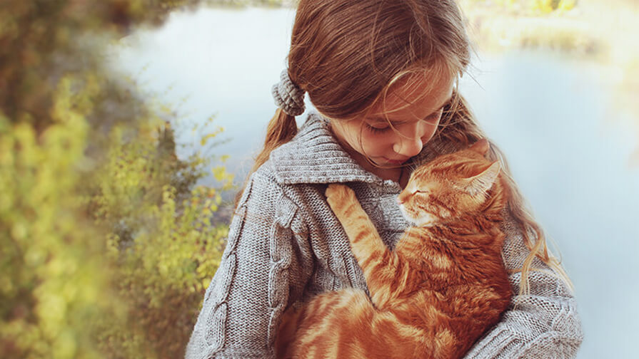 Young girl holding a cat