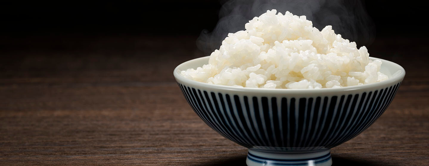 Freshly cooked hot rice in bowl