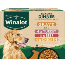 WINALOT® Sunday Dinner Mixed in Gravy (Beef, Chicken, Turkey) Wet Dog Food Pouch