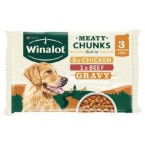 WINALOT® Meaty Chunks Mixed in Gravy Beef and Chicken Wet Dog Food Pouches