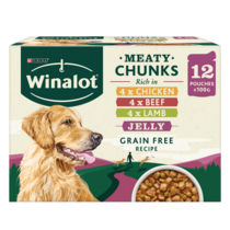 WINALOT® Meaty Chunks Mixed in Jelly (Beef, Chicken, Lamb) Wet Dog Food Pouches