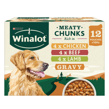 WINALOT® Meaty Chunks Mixed in Gravy (Beef, Chicken, Lamb) Wet Dog Food Pouches